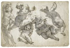 Giovanni Battista Gaulli, called Il Baciccio | FIVE PUTTI, BEARING ECCLESIASTICAL ATTRIBUTES | Sotheby's