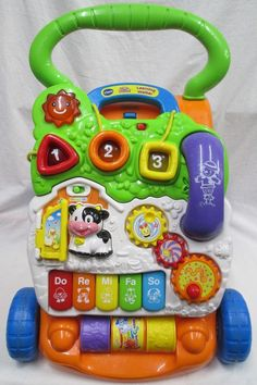 VTech Sit-to-Stand Learning Walker Farm Themed Lights Sounds #1 Selling Toy EUC #VTech