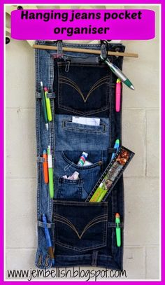 May 2015 - Creating my way to Success: Upcycled Jeans Pocket Organiser Wand Organizer, Pocket Organizer, Jean Crafts, Denim Crafts, Jean Organization, Denim Ideas, Recycling, Recycled Denim, Denim Fabric