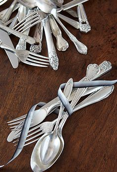Mismatched Vintage Cutlery Place Setting
