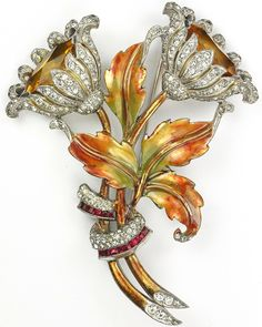 Dujay (unsigned) Pave and Citrine Flowers and Metallic Enamel Leaves with Invisibly Set Rubies Floral Spray Pin