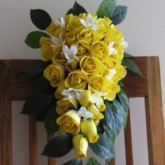 Half blooming yellow wooden roses definitely say that the sender is keen on friendship alone. Wooden Roses, Everlasting Love, Bouquet, Bloom, Yellow, Create, Plants, Wedding, Valentines Day Weddings