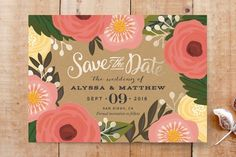 Floral Save the date wedding invitation stationery and save the dates by MINTED.  Just gorgeous.  I love the wedding inspirations and trends especially in 2015 for brides looking for creative ways to be detailed.