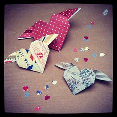 origami flying hearts