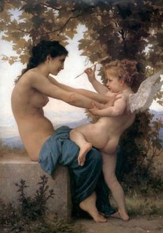 Young girl defending herself against cupid, William Adolphe Bouguereau by e-liza
