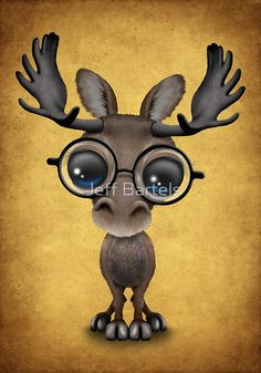 Cute Curious Baby Moose Nerd Wearing Glasses on Yellow | Jeff Bartels