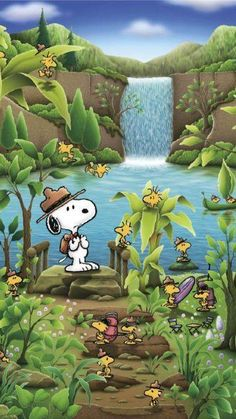 Snoopy and Woodstock with Woodstock family.