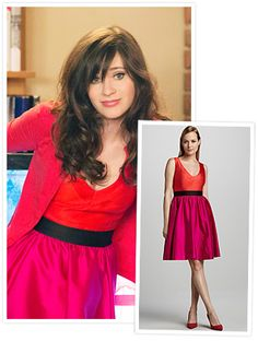 New Girl's Jess Day (Zooey Deschanel) wore Kate Spade two-tone color-block dress.