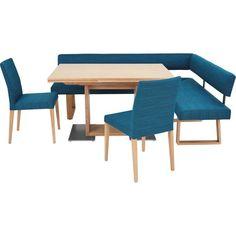 Mit dieser modernen Eckbankgruppe schenken Sie Ihrem Esszimmer ein farbiges Highlight! Die Möbelkombination im Retro-Chic versprüht einen flippigen Charme und lässt das ausdrucksstarke Blau in Ihrem Zuhause neu aufleben. Zudem bildet das natürliche Holz der Asteiche einen kontrastreichen Akzent zu dem knalligen Bezug.