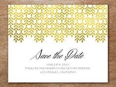 Save the Date Karte zum Selberdrucken - Glam Gold von e.m.papers auf DaWanda.com