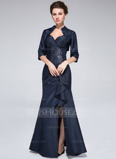 Trumpet/Mermaid Sweetheart Floor-Length Taffeta Mother of the Bride Dress With Beading Split Front Cascading Ruffles (008025374)
