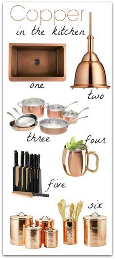 Gorgeous copper accents to brighten up your kitchen! #Decorativeaccents