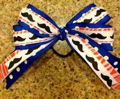 Mustache Broncos Ponytail Hair Bow Sports on Etsy, $8.00