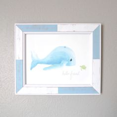 This cute little whale and sea turtle are printed on gorgeous archival art paper and make the perfect heirloom piece for your little one's nursery or to gift to a new momma.