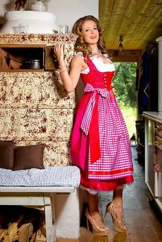 Dirndl consists of a bodice, blouse, full skirt and apron.