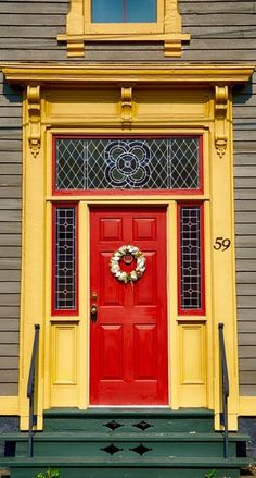 In a town known for it's tall ships and painted houses, I thought I would capture some of the beautiful painted doors that can all be found within a few square blocks. Lunenburg, Nova Scotia is one of the most beautiful towns on Canada's East coast. Cool Doors, Unique Doors, Entrance Doors, Doorway, Front Doors, Grand Entrance, Door Knockers, Door Knobs, Door Gate