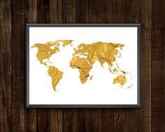 Items similar to Gold Foil World Map World Map Printable, Printable Wall Art, Canvas Wall Art, Wall Art Prints, Framed Prints, World Map Wall Decor, Nursery World, World Map Poster, Gold Foil Print