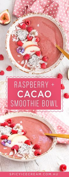 Raspberry and Cacao Smoothie Bowl. As tasty as it looks and filled with lots of good-for-you ingredients to start your day right..