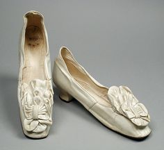 Pair of Woman's Slippers (Wedding Trouseau) United States, Iowa, Dubuque, 1878 Costumes; Accessories Kid leather, sueded leather, linen 9 1/...