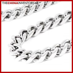 MENS 12MM 28` STAINLESS STEEL CURB CHAIN NECKLACE N0810