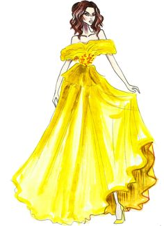 Belle in Marchesa - by Armand Mehidri (Disney Princesses on the Red Carpet) Diva Fashion, Fashion Art, Fashion Beauty, Fashion Design, Disney Princess Fashion, Disney Style, Disney Art, Disney Fashion, Beauty And The Best