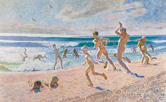 Plakat<br>J.F. Willumsen<br>Badende børn på Skagen strand : vis