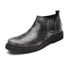 Men Retro Genuine Leather British Style Ankle Casual Chelsea Boots