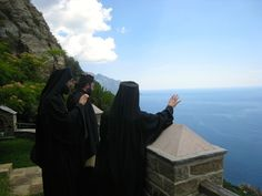Monks on Mount Athos enjoying the fantastic view from their place of quietness.