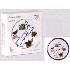 New Zealand Birds Coasters - Polar Fleece, New Zealand, Coasters, Decorative Plates, Birds, Gift, Coaster, Bird