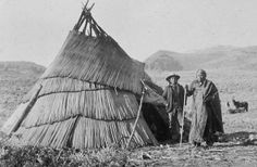 Paiute Indians Images of Their Shelter   ... Paiute wickiup covered in plant stem mats Paiute family outside their
