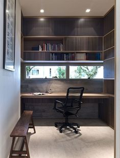 Architecture, Awesome Home Office Design With Floating Woodne Desk Also Wooden Bench With Bookshelf And Ceiling Lamps: Inspiring House Desig. Home Office Space, Home Office Design, Office Decor, House Design, Transitional Living Rooms, Transitional House, Transitional Lighting, Patio Interior, Interior Design