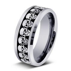 skull design men's wedding ring