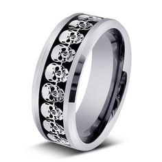 skull design men's wedding ring