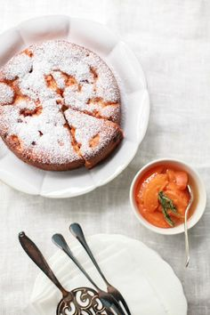 Apricot and raspberry cake and lemon verbena-scented apricot compote.