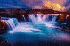 Stitch App, Cross Stitch Pictures, Cross Stitching, Northern Lights, Waterfall, Digital, Painting, Travel, Stitches