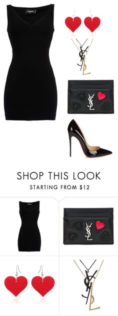 """""""Untitled #153"""" by fasshionn0 ❤ liked on Polyvore featuring Dsquared2, Yves Saint Laurent and Christian Louboutin"""