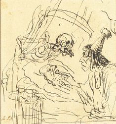 HONORÉ DAUMIER (MARSEILLES 1808-1879 VALMONDOIS) DEATH LOOMING OVER A DYING MAN TENDED BY A DOCTOR