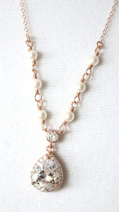 Rose Gold Luxe Cubic Zirconia Teardrop Necklace