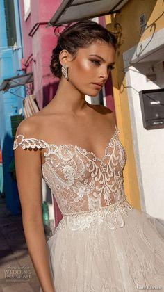 gali karten 2018 bridal off the shoulder heavily embellished bodice romantic elegant soft a line wedding dress sweep train (12) zv