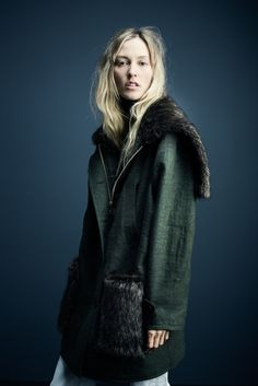 Parka with Faux Fur in army/mink