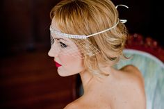 Blusher Veil on Headband | 47 Gorgeous Wedding Headpiece Ideas