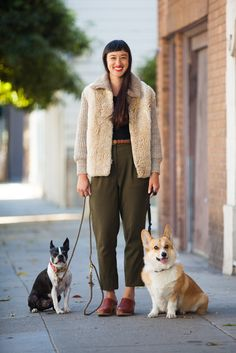 How To Pull Off Fall Layering Like A Total Pro #refinery29  http://www.refinery29.com/fall-street-style-san-francisco#slide16  Erin Fong (and some seriously cute pals) in American Apparel pants, H&M shirt, and vintage clogs, knit, and belt.
