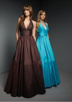 Sexy Deep V neck with Halter in A line Floor length Skirt Hot Sell Whoelsale Coffe or Teal Bridesmaid Dress CA14