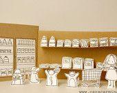 Washing Cats -  Photo print  -  Paper diorama