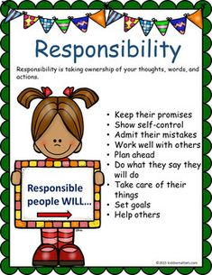 Responsibility Character Education Lessons and Activities by Kiddie Matters Teaching Social Skills, Social Emotional Learning, Teaching Kids, Kids Learning, Social Skills Lessons, Character Education Lessons, Kids Education, Physical Education, Education Humor