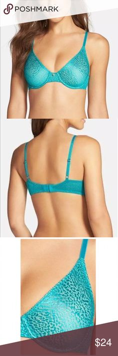 Natori 32A bra All Day Lynx molded mesh unlined Natori 32A All Day Lynx 734048 ✨ Green Jewel animal print stretch lace ✨ molded unlined with mesh layer ✨ adjustable straps back closure ✨ gorgeous & NWT  Natori Intimates & Sleepwear Bras