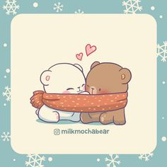 Milk and Mocha Bear Cute Cartoon Images, Cute Couple Cartoon, Cute Love Cartoons, Cute Cartoon Wallpapers, Cute Bear Drawings, Kawaii Drawings, Bear Wallpaper, Kawaii Wallpaper, Cute Kawaii Animals