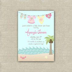 girl beach baby shower invitation printable digital clothesline baby shower invite file