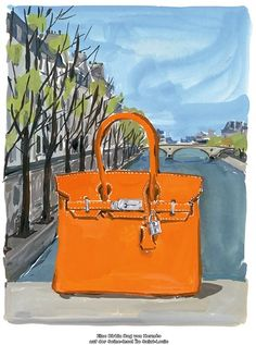 Hermes Birkin by Illustration by Jean-Philippe Delhomme. 9e7603a002e7f
