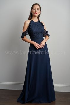 P206061 Halter Neckline Lace & Georgette Long Bridesmaid Dress | #bridesmaiddresses #bridalparty #bridesmaidinspiration #bridesmaidgoals